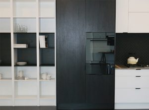 joinery Brisbane, display shelving, contemporary design, eye-level oven