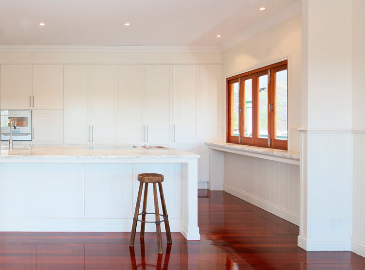 bespoke kitchen designers Brisbane, timber floors, white cabinetry