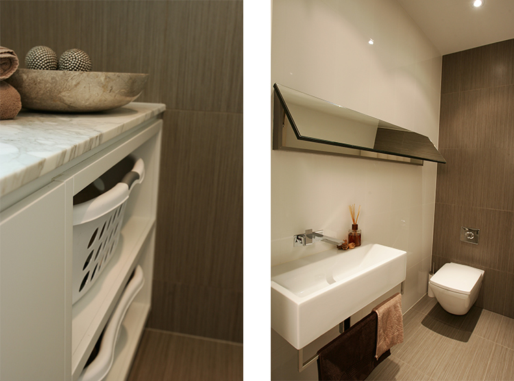 laundry renovations Brisbane, powder-room design, mirror storage cabinet