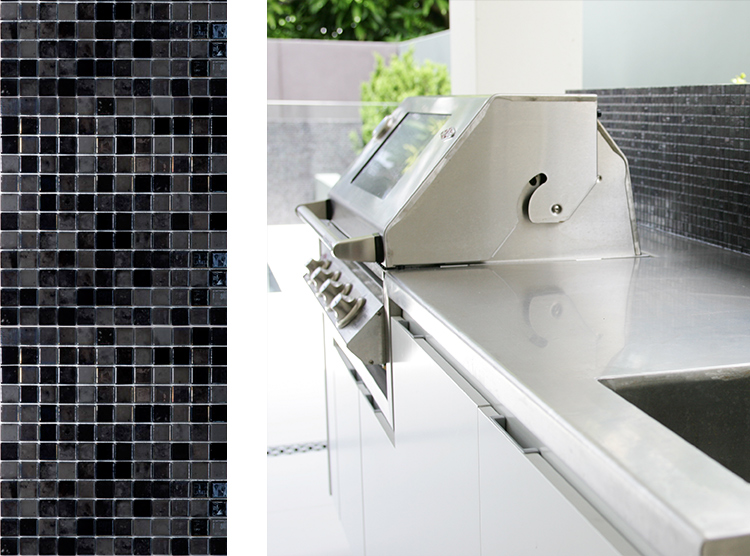 outdoor kitchens Brisbane, DbyD, BBQ design, tiled splashback