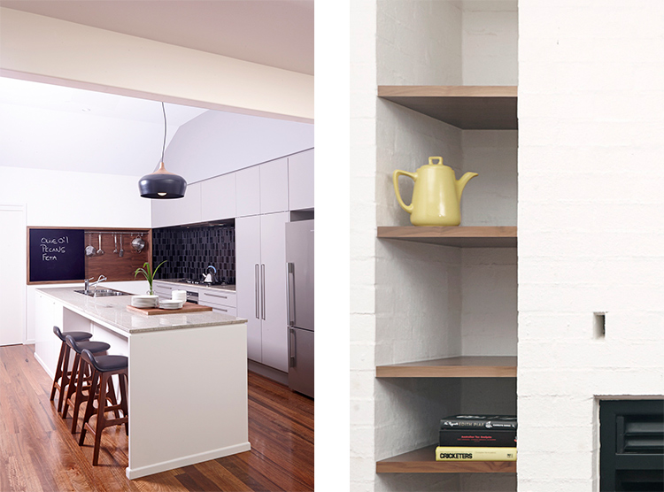 Brisbane kitchen renovation, custom island design, timber shelving
