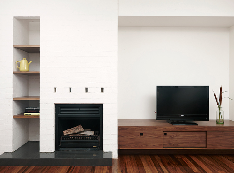 joinery Brisbane, entertainment unit, brick fireplace, asymmetrical shelving