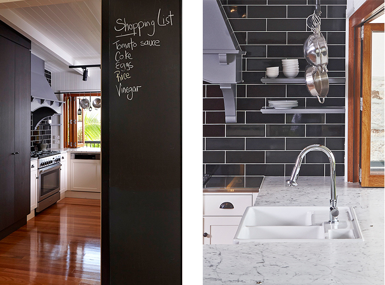 kitchen manufacturers Brisbane, black subway tiles, hand painted