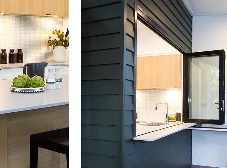kitchen servery design, top hung bi-fold windows