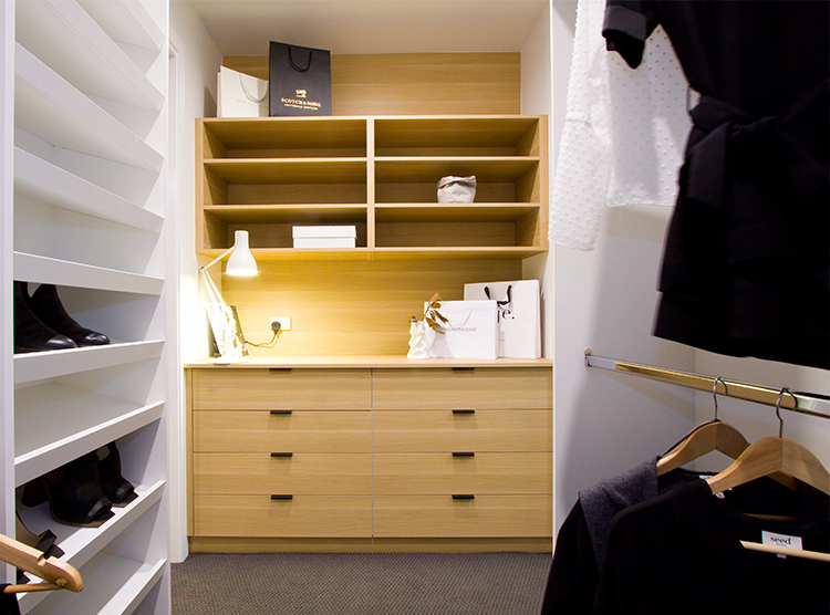 walk in wardrobe renovation Brisbane, timber cabinets