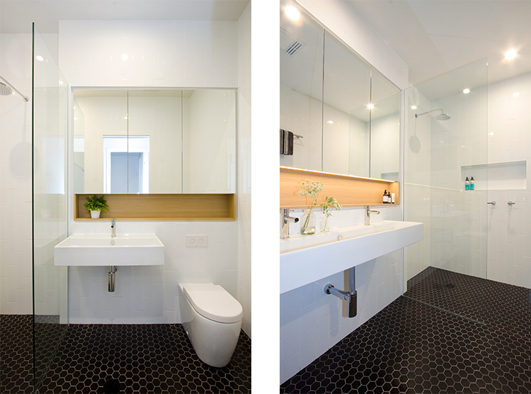 bathroom renovations Brisbane, floating porcelain basins, bathroom niche