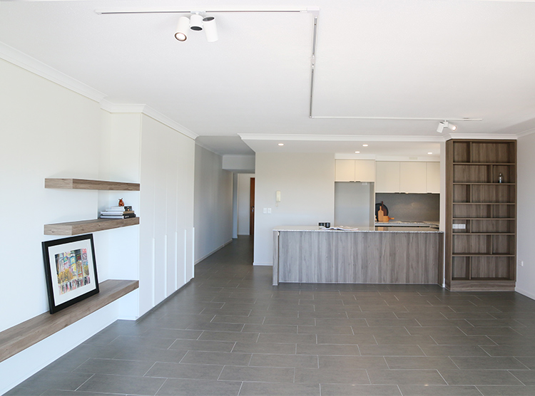 apartment renovation Brisbane, kitchen & entertainment unit layout
