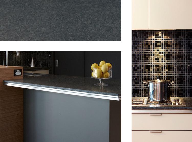 kitchen design Brisbane, glass mosaic tiles, granite benchtop