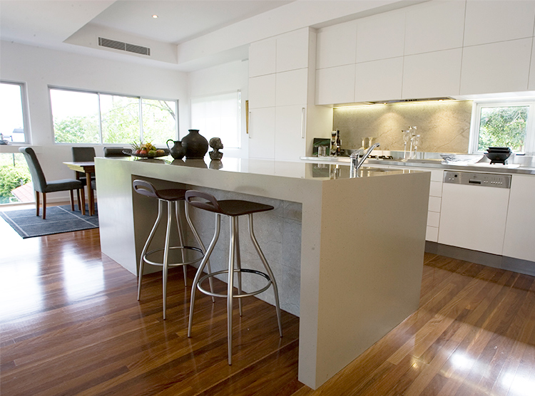 Brisbane kitchen renovation, feature island with waterfall ends