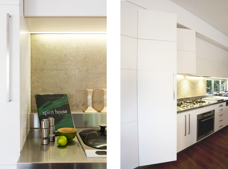 Brisbane kitchen makeover, stainless steel benchtop, tiled splashback