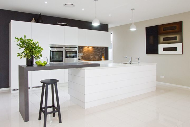 DbyD, new kitchens Brisbane, modern white kitchen, bar
