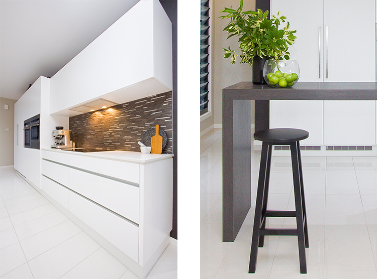 modern kitchen design Brisbane, handle-less, bar stool