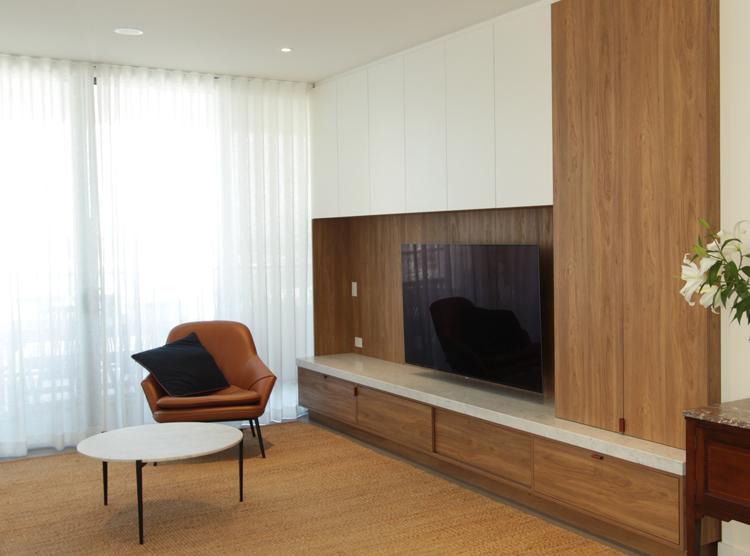 DbyD, custom entertainment unit design, Brisbane joinery, apartment renovation