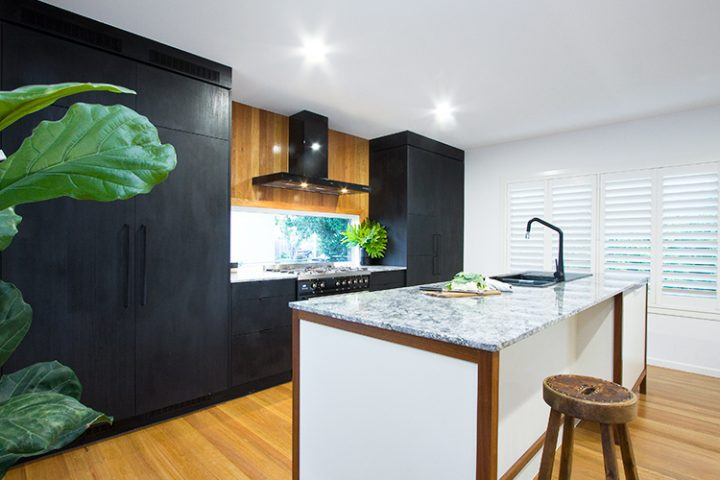 kitchen renovation Brisbane, masculine design, black & white