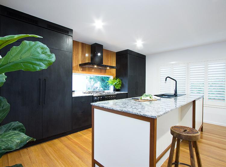 kitchen renovation Brisbane, masculine design, black & white
