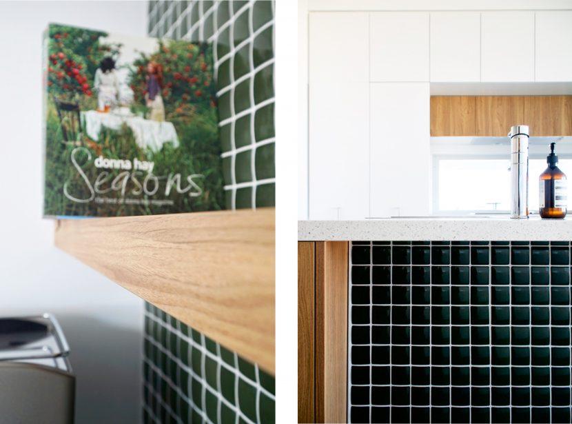 Green tiled splash back, kitchen renovation, floating timber shelves