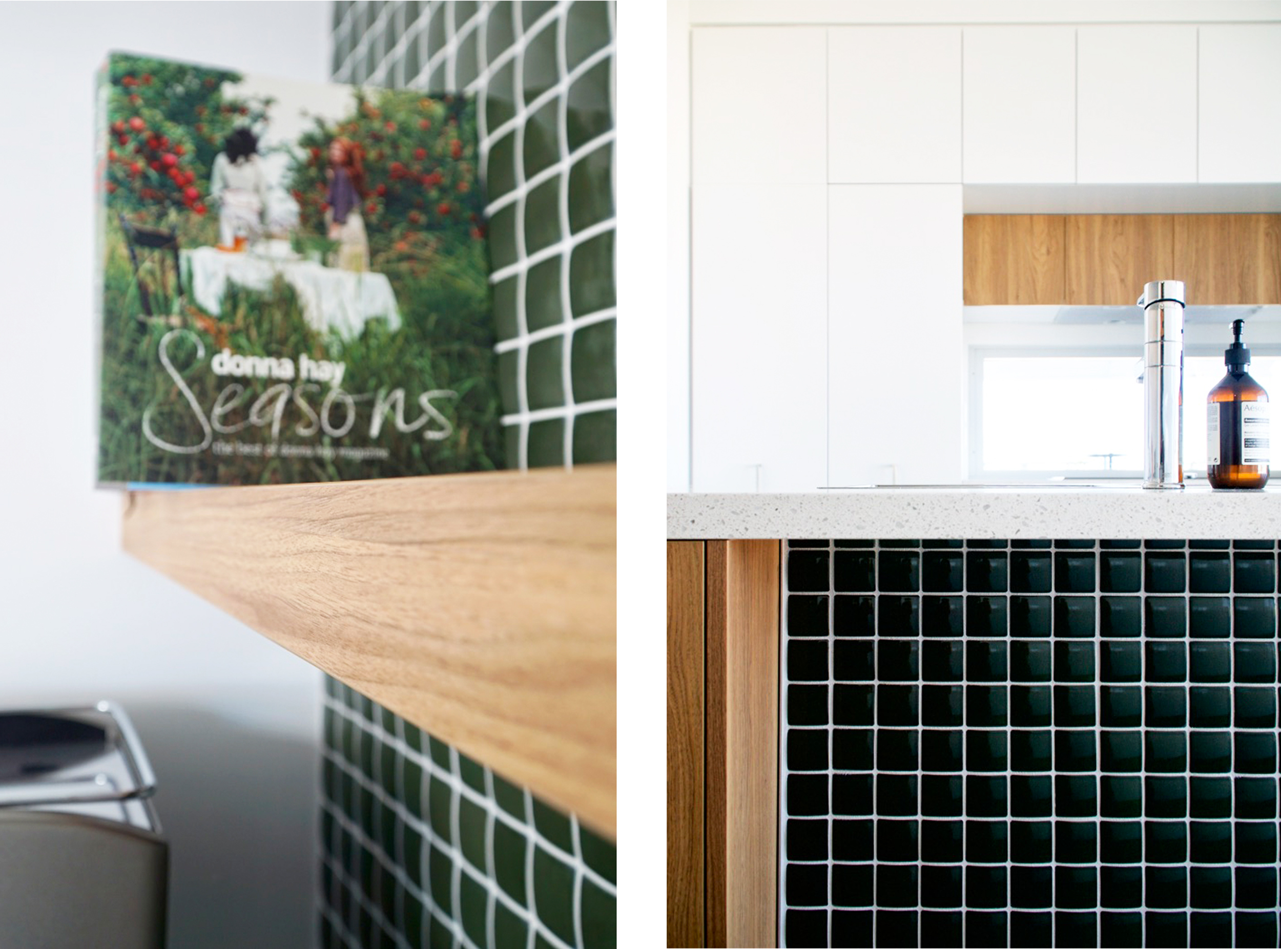 Kitchen design, green tiled splash back, timber shelves, DbyD