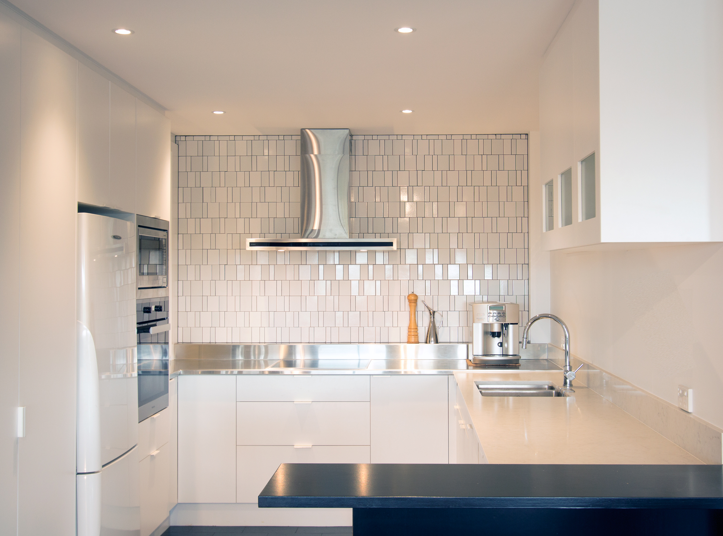 Apartment renovation Brisbane, DbyD custom kitchens, stainless steel bench top