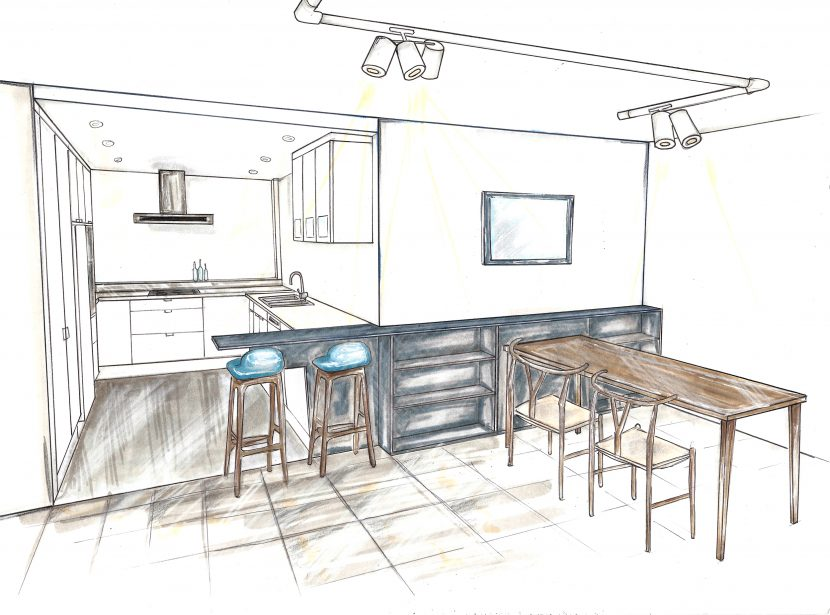 Apartment renovation, interior design sketch, DbyD kitchen design