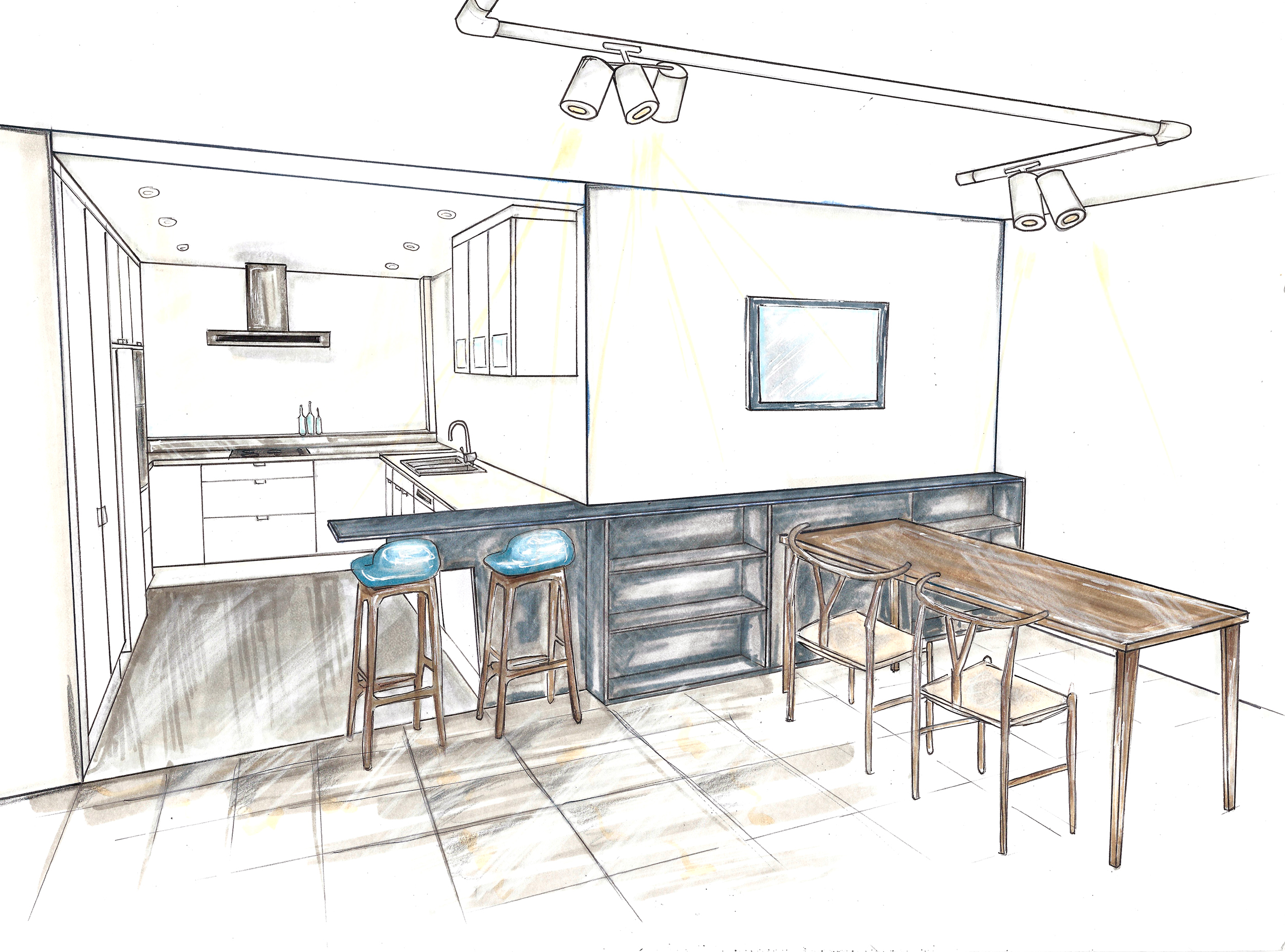Apartment renovation, interior design sketch, DbyD kitchen design